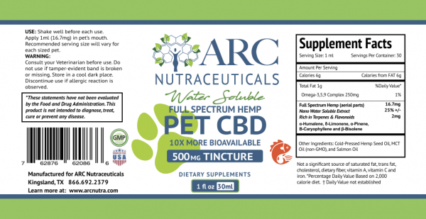 Water Soluble CBD Pet Tincture Label 500mg